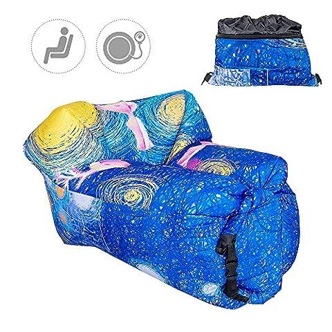 Chaise longue gonflable Canapé TOP-MAX Air Matelas Lazy Canapé lit de couchage pour intérieur ou extérieur Camping Randonnée Plage Piscine Park Backyard (étoile