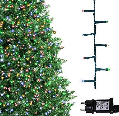 Luci natalizie per interni e esterno 500 led albero luci multi colore, 8 modalità con memoria e funzione timer, alimentate, trasformatore incluso 12,5 m lunghezza illuminata- cavo verde
