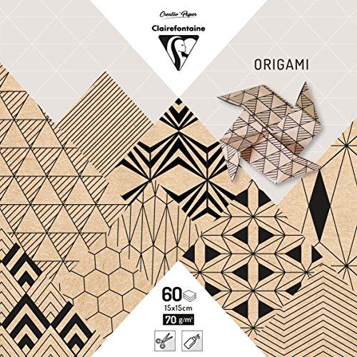 (15 x 15 cm, Kraft) - Clairefontaine 15 x 15 cm Origami Paper, 70 g, Krafty, 60 sheets (Kraft Origami-papier)
