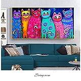 ganlanshu Pintura sin Marco Impresiones de lienzos de Gatos coloridos y lienzos decorativos de Arte Pop para carteles de habitaciones de niños40X80cm