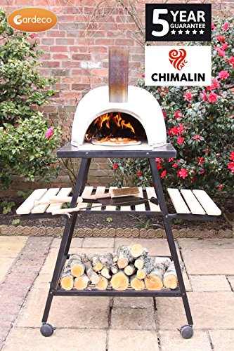 Traditional Outdoor Natural Clay Dome Shaped Pizza Oven With Trolley Stand