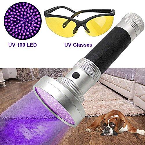 UV Schwarzlicht Taschenlampe DaskFire UV-Taschenlampe 100 LED Blacklight Ultraviolett Leuchte mit Premium-Handheld UV-Schwarzlicht Hund und Katze Urin Fleck Finder mit kostenlosen UV-Schutzbrille -