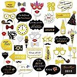 Konsait Neujahr 2019 Fotorequisiten Fotoaccessoires (50Pcs), Silvester Photo Booth Props Set mit Stick für Erwachsene Kinder Party Accessoires 2019 Neujahr Party Dekor Verkleidung Mitbringsel Maske