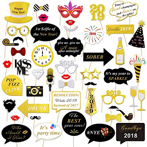 Konsait Neujahr 2019 Fotorequisiten Fotoaccessoires (50Pcs), Silvester Photo Booth Props Set mit Stick für Erwachsene Kinder Party Accessoires 2019 Neujahr Party Dekor Verkleidung Mitbringsel Maske