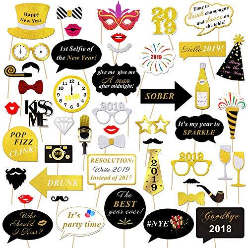 (Konsait Neujahr 2019 Fotorequisiten Fotoaccessoires (50Pcs), Silvester Photo Booth Props Set mit Stick für Erwachsene Kinder Party Accessoires 2019 Neujahr Party Dekor Verkleidung Mitbringsel Maske)