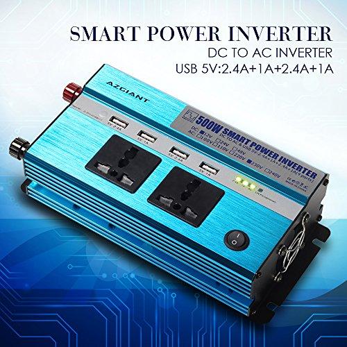 AZGIANT 500W Auto Wechselrichter 12V auf 230V,mit 4 USB Anschlüsse, 2 Steckdose für Smartphones und kleine Haushaltsgeräte im Auto