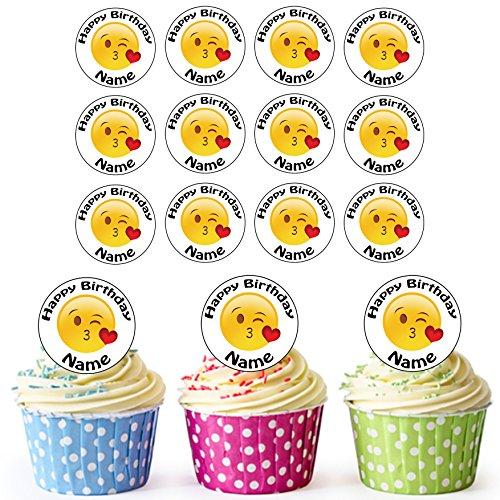 sonalisierter Kuss Emoji Smiley - Essbare Cupcake Topper / Kuchendekorationen (24 Stück) ()