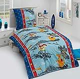 Aminata Kids Parure de lit en coton pour enfant 135x 200motif garçon chevalier avec château, trésor et dragon