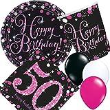 Carpeta 33-teiliges Partyset * PINK Sparkling Celebration * für den 50. Geburtstag // mit Teller + Becher + Servietten Luftballons // Deko Set Party Mottoparty Motto fünfzig Magenta