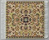 Miniatur Teppich, reines Polyester, für Krippe, Puppenhaus. Beige Grün.6,5x6,5cm