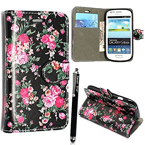 Kamal Star® SAMSUNG GALAXY S3 S III MINI I8190 PU LEATHER MAGNETIC FLIP CASE SKIN COVER POUCH +STYLUS (Roes on Black