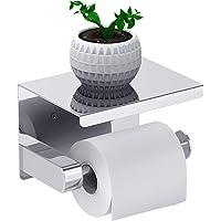 Leolee Porte Papier Toilette, Support Papier Rouleau sans Percage Derouleur Papier WC,Distributeur Papier avec Tablette…