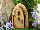 Puerta de hadas para casa Country Cottage Puerta de hadas de madera tridimensional para ensamblar en casa Craft Kit, con manija, llamador de puerta y bisagras funcionales