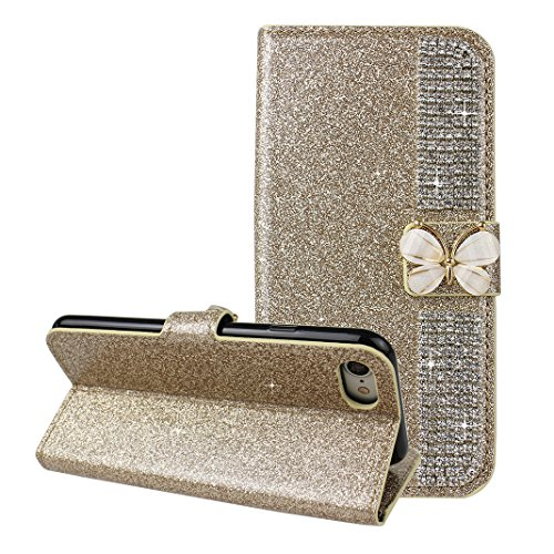 iPhone 7 Hülle Leder Rosa Schleife PU Ledertasche Flip Wallet Cases Book Cover Glitzer Schutzhülle Strass Diamant Handyhülle Etui TPU Silikon Bumper mit Rosa Schmetterling Strass Magnetverschluss für  Gold