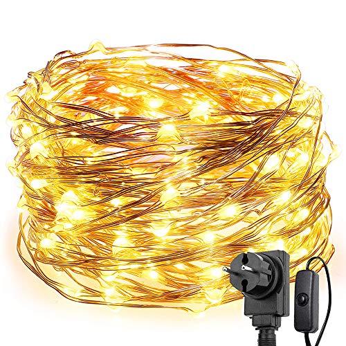 LE - Catena di 200 luci a LED, 20 m, impermeabile, IP65, alimentazione elettrica con interruttore, luce bianca calda, ideale per illuminare Natale, balconi, esterni e feste