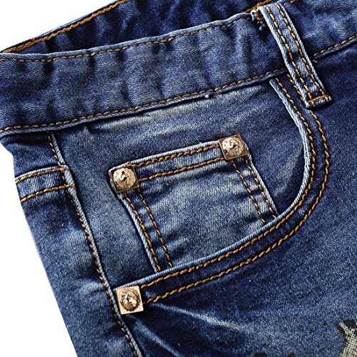 Jeansian Hommes Peinte Stretch Slim Denim Casual Pantalons Mens Painted Five Pants MJB035 blue