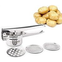 FUKTSYSM Schiacciapatate   Potato Ricer in acciaio con 3 intercambiabili Dischi  ergonomica Comfort Maniglia Design per il cibo Pressa  Argento