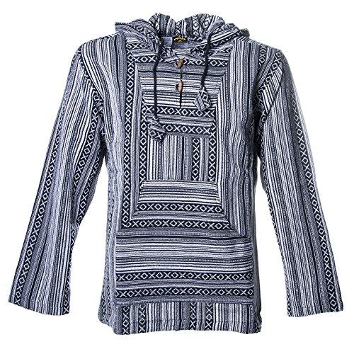 en Nepal Baja Hoodie Pullover Sweatshirt Poncho, Größe:XS, Farbe:Schwarz/Weiß ()
