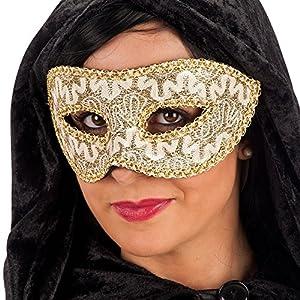Carnival 00853-Lusso Damasco Máscara, con puente, de plástico, oro