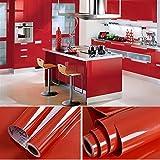 0,61x 5,5m PVC autoadhesivo Muebles Your Design küchenschrank Pegatinas schrankfolie Schlafzimmer pared papel pintado Roller Cocina folieren con Gratis accesorios Rasqueta, pvc, Rojo, 5,5M