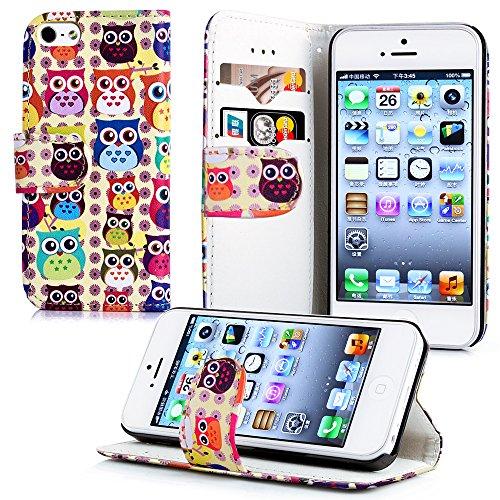 Apple iPhone 5 / 5s Handyhülle inklusive Displayfolie England Eulenmuster (2)