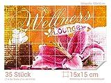 GRAZDesign 766241_15x15_70 Fliesenaufkleber Wellness - Blumen - Dekor | Bad-Fliesen mit Fliesenbildern überkleben (Fliesenmaß: 15x15cm (BxH)//Bild: 105x70cm (BxH))