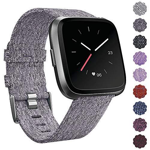 KIMILAR Armbänder Kompatibel mit Fitbit Versa Armband Stoff, Schnellspanner Nylon Ersatzband Armbänder mit Edelstahl Handgelenk Verschluss für Fitbit Versa Smartwatch (Aschfahle) - Stoff-armband Verschluss