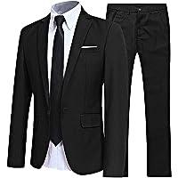 inhzoy Men 2Pcs/3Pcs Formal Suit Outfits Slim Fit Business Suit Sets for Button Tuxedo Jacket Blazer Trousers Sets