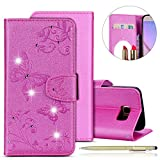 Herbests Custodia Galaxy S6 Edge Plus, Cover Galaxy S6 Edge Plus Brillantini Glitter Strass Pelle Cover con Disegni Belle Farfalla Fiori Flip Stand Libro Stile con ID Slots Case
