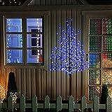VINGO® Höhe ca. 180 cm LED Kirschblütenbaum Lichterkette Weihnachtsbaum Christbaum mit Metallfuß in blau Blütenbaum Lichterbaum Weihnachtsdeko Gartendeko
