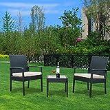 YOUKE Set di mobili da Giardino in Rattan Sintetico Patio Veranda Indoor Outdoor Set 3 Pezzi Set, Poltrona e tavolino Set Cuscino Incluso