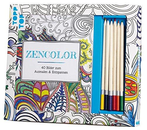 Kreativ-Set Zencolor (Ausmalen für Erwachsene): Buch mit 40 Seiten zum Heraustrennen und 6...