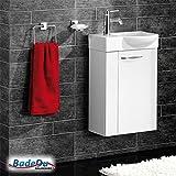 Fackelmann SCENO Badmöbel Set Gäste-WC Farbe Weiß/Weiß (3-teilig) - Waschbecken rechts mit Armatur