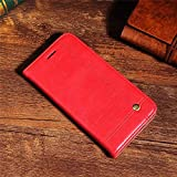 D-Kandy KISSCASE Series Leather Flip Wallet Case Stand with Metal Logo & Card Holder Cover for HTC Desire 728 & 728 Ultra - RED