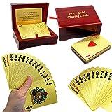 Mazzo di carte tascabili,euro placcatura in oro 24K, purezza 99,9%, confezione regalo Deluxe di legno