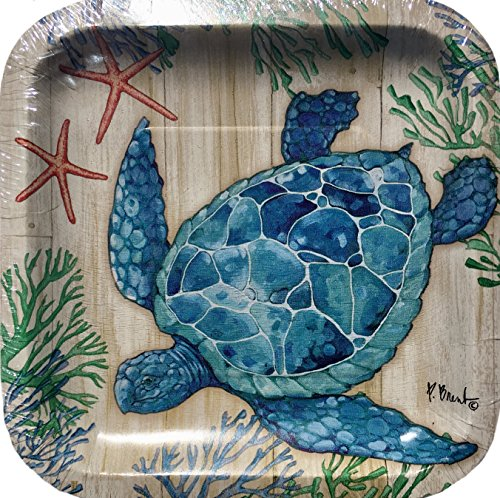 Unbekannt Creative Converting Koralle Schildkröte Quadrat 8in Dessert Pappteller, Blau, 18Zählen Dessert Plate Coral