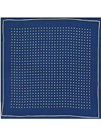 Mens Silk Handkerchief - Silk Pocket Handkerchief - Navy With Yellow Spots and Border - (HH51)