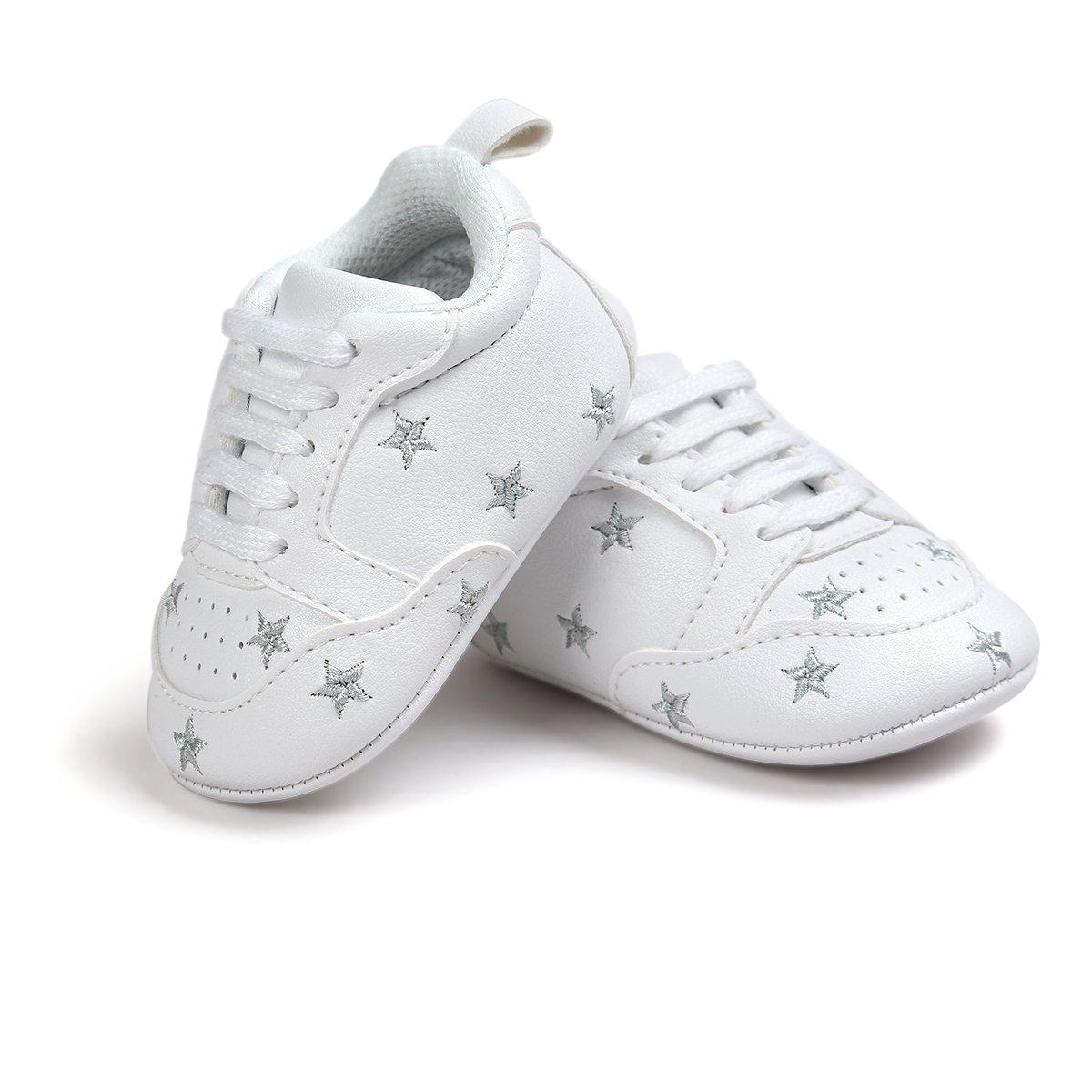 Itaar Scarpe Bambino in Morbida Pelle Scarpe Primi Passi (11 (0-6 mesi), stelle d'argento)