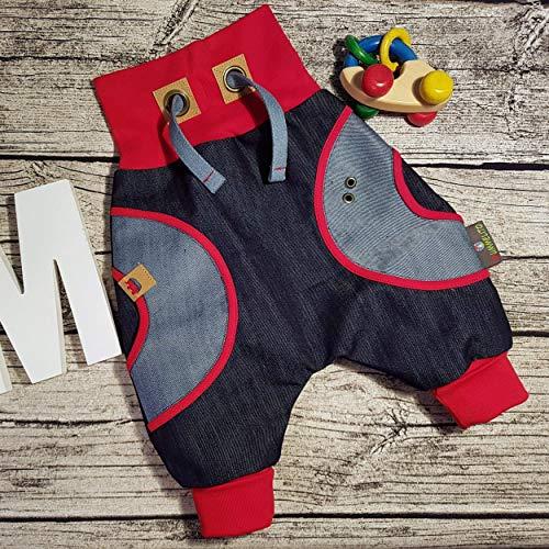 Denim Cordhose (Jeanshose Hose Jeans Kinderhose Babyhose Mitwachshose Pumphose Wunschgröße personalisiert handmade Taschen Hosentaschen retro blau denim rot)