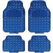 JVL Titan 01-693 Alfombrillas de Goma para Coche con Diseño Metálico, Azul, 4 Unidades