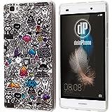 deinPhone Huawei P9 Silikon Hülle Comic Muster grau
