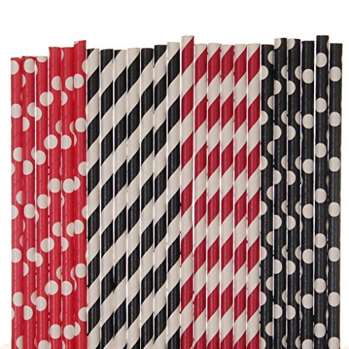 Creative Juice Cafe Rot und Schwarz Papier Stroh Mix–rot, schwarz, gestreift, Polka Dot