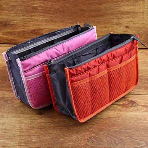 boldion (TM) Borsa in borsa, portatile con doppia cerniera tasche Borsa Borsa Da Viaggio multifunzionale, Fadish Makeup Organizer da viaggio borsa Purple Pink