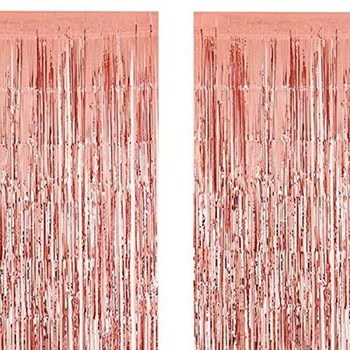 2 Stück 1M*3M Folie Vorhang Metallic Folie Fransen Vorhänge Photo Booth Requisiten für Geburtstag Hochzeit Braut Dusche Baby Shower Bachelorette Weihnachten Party Dekorationen (Rose Gold)