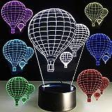 Ideemoor 3D Night Light Led 7 Colors Changing Optical Illusion Desk Lamp Home Decor Hot air Balloons Kids Nightlight