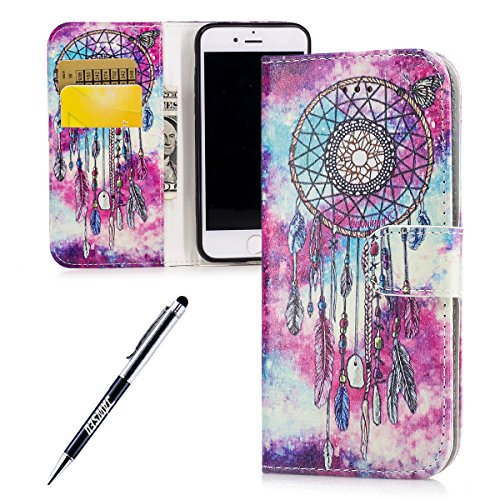 iPhone 7 Custodia, iPhone 7 Cover, JAWSEU Apple iPhone 7 4.7 Custodia Cover Wallet Pouch Lusso Liscio Design Creativo Custodia per iPhone 7 Telefono Custodia [Shock-Absorption] con Morbido Silicone Ca Marmo Campanula