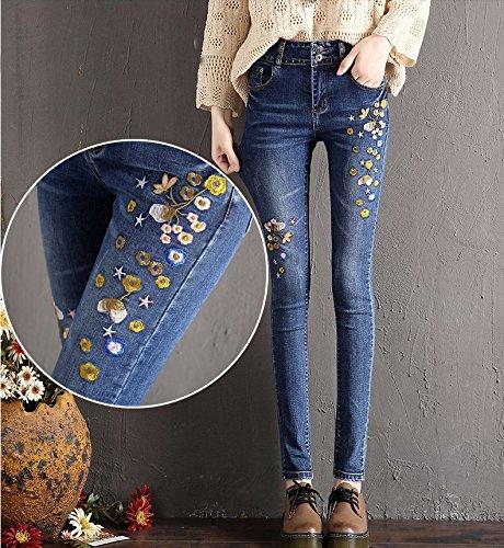 PU&PU Damen Street Schick Mittlere Hüfthöhe Mikro-elastisch Jeans Bootcut Hose,Bestickt Stickerei , blue , s - Bootcut-jeans Bestickt