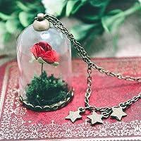 Collana con Rosa rossa in campana di vetro - Il Piccolo Principe - Volpe, Stelle, Pianeti, Satelliti