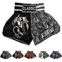 Classic Muay Thai Kick Boxing Shorts : CLS-014-Black-Silver Size L