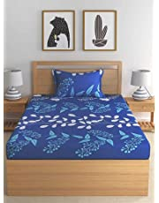 P PRIDHI Cotton Single Bed Sheet with One Pillow Cover